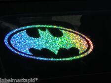 HOLOGRAPHIC BATMAN Car Sticker 17cm Silver Speckled Rainbow Vinyl