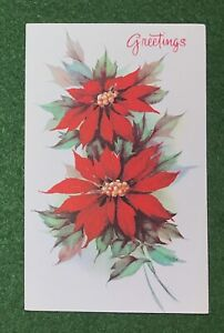 vintage Greeting Card Christmas GREETINGS Poinsettias great nostalgic art UNUSED