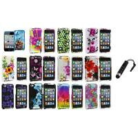Flower Design Hard Case Cover Accessory+Stylus Plug for iPod Touch 4th Gen 4G 4