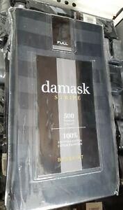 damask STRIPE Bedskirt FULL Size 500 Thread Count 100% Egyptian Cotton Black