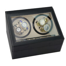 ND_ Black 4+6 Automatic Rotate Faux Leather Flannel Watch Winder Storage Case
