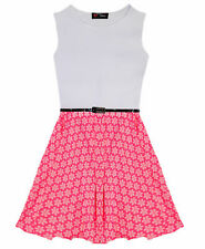 Girls Pink Neon Floral Skater Dress Belted Party Dresses New Age 7 - 13 Years