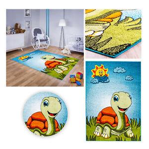 Kinderteppich Spielteppich Babyteppich Mädchen Jungen Grün Blau Schildkröte bunt