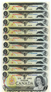 Bank of Canada 1973 $1 One Dollar Lot 10 Notes AU $10 Face Different Prefixes