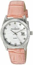 Peugeot Women's Coin Edge Bezel Leather Band Dress Watch