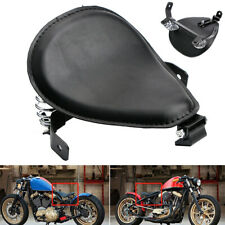 "Black 3"" Motorcycle Solo Seat w/ Spring Bracket For Harley Chopper Bobber Custom"