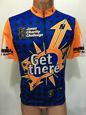 Sugoi Mens M 1/2 Zip Short Sleeve Bike Jersey Blue Orange Ironman N America