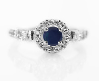 925 Sterling Silver Ring Blue Sapphire Solitaire Gemstone Size 4-11