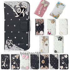 Bling handmade Glitter Rhinestones Leather Flip slots Wallet Case Phone cover Z6