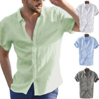 Mens Cotton Short Sleeve Shirt Summer Cool Loose Casual V-Neck Shirts Tops M-3XL