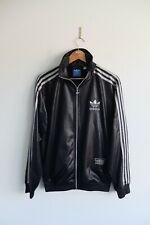 Rare Adidas Chile 62' Tracksuit jacket M Black Silver trefoil wetlook Glossy