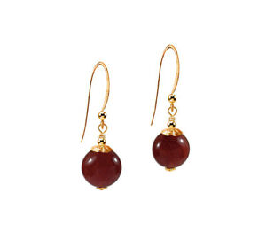 *CKSA*  Genuine Red Carnelian Dangle 14K Gold gf Earrings