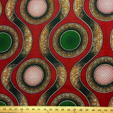 African Print Fabric 100% Cotton 44'' wide sold by the yard Orbs (90103-2)