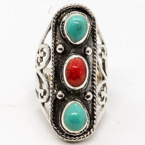 Turquoise Coral Natural Organic Gem Ring 925 silver Size O-V Ladies feeanddave
