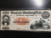 1862 $50 VIRGINIA TREASURY NOTE RICHMOND  SCARCE OBSOLETE NOTE