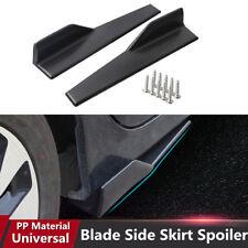2PCS Black Anti-scratch Car Side Skirt Rocker Splitters with installation bolts