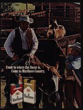 1969 MARLBORO Cigarettes - Cowboy - Horse - Hat - Cowboys - Barn - VINTAGE AD