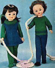 "Dolls clothes Knitting  pattern. 16"" 18"" 20"" doll.   Laminated copy, (V Doll 52)"