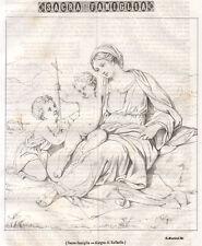 Sacra Famiglia-disegno di Raffaello, litografia 1845