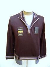 100% Wool MURANO S Small Half Zip Mockneck Sweater Mens Brown Jacket Coat Stripe