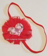 Red Pink Shabby Flower Headband Hearts Bows Jeweled Valentine's Day