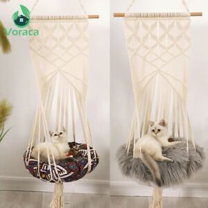 Cat Hammock Boho Style Macrame Swing Bed Handwoven Tassel Tapesry Home Deco Pet