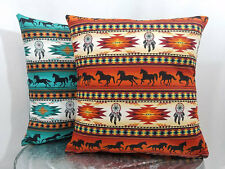 Terracotta or turquoise Tuscan Southwest Aztec horse cotton pillow cover