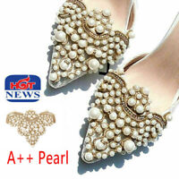 2Pc Pearl Flower Shoe Clip Rhinestones Removable Pointed Shoes Decoration Beatuy