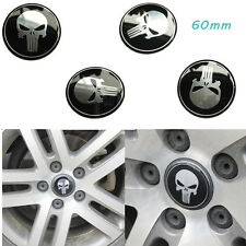 4x 60mm Wheel Center Hub Cap Car Auto Punisher Skull Emblem Badge Decal Sticker