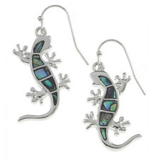 Gecko Lizard Fashionable Earrings - Fish Hook - Abalone Paua Shell