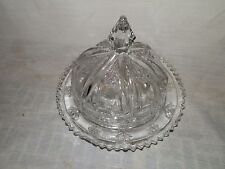 Vintage, EAPG, Glass, Domed, Panel & Flower, Saw Tooth Edge, Butter Dish