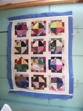 AF0825 Handmade Scrappy Patchwork LAP QUILT TOP DISAPPEARING 9-PATCH 51.5 x 64.5