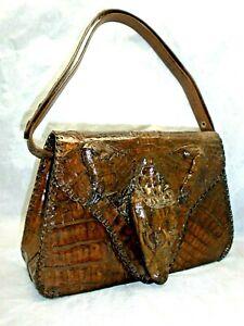 Vintage Crocodile Alligator Hand Bag Purse Taxidermy Leather