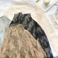 Women Hollow Mesh Net T-Shirt Long Sleeve Bottom Top Sheer Blouse Clubwear Khaki
