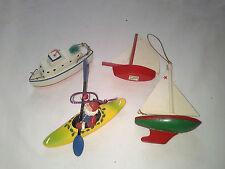 Lot of 3 Wood & 1 Santa in Canoe Inside Outside Boat Theme Tree Ornaments