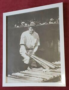 "Babe Ruth 11""x14"" White Framed Matte Finished Sepia Tone Photo Poster NY Yankees"