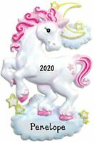 "Personalized "" PINK UNICORN "" Christmas Hanging Tree Ornament HOLIDAY GIFT 2020"