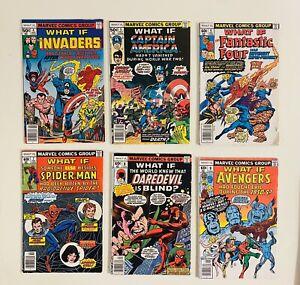 Lot x 6 What If #4 5 6 7 8 9 Marvel Comics 1977 1978 Invaders Avengers FN-VF