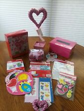 Lot Valentine Crafts Party Stickers Cards Pink Heart Decorations Pink Box