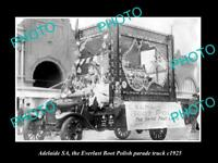 OLD LARGE HISTORIC PHOTO OF ADELAIDE SA, EVERLAST BOOT POLISH PARADE TRUCK c1925