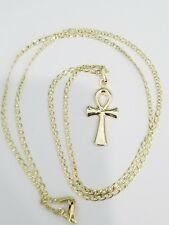 14k Yellow Gold Pendent Charm Ank Cross Crusifix EGYPTIAN 20 Inch Gucci Chain
