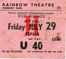 BOZ SCAGGS CONCERT TICKET 1977 ORIGINAL VALUABLE RAINBOW LONDON VINTAGE GEM RARE