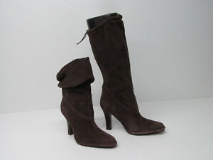 HOT in HOLLYWOOD BROWN SUEDE SLOUCHY KNEE HIGH FOLDOVER ANKLE BOOT Sz WOMEN'S 8