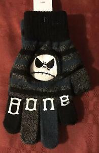 Nightmare Before Christmas JACK BONE DADDY Knit Gloves Fingerless New