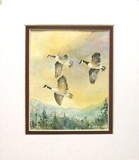 """3 Canadian Geese"" Watercolor Original 5 1/4"" x 6"" Matted Art"