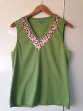CABLE & GAUGE Green Vest Top Floral Print Neck size 1 Approx8-10 <K686