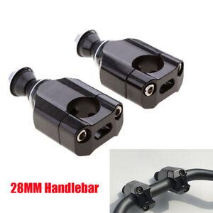 1Pair 28mm HandleBar Mounts Clamp Riser Adapter Black For Motorcycle Dirt Bike