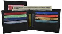 Black Men's Leather Multi Credit Card Removable ID Window Compact Bifold Wallet