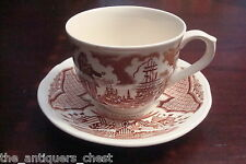 """Alfred Meakin Staffordsire England """"Fair Winds""""cup & saucer, red transfer[4-2c]"""