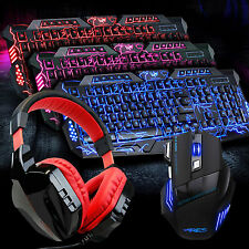 3 Colors Backlit Gaming Keyboard and 3200 DPI Mouse Mice with Headset Microphone